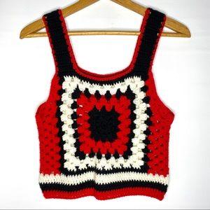 Vintage Crochet Tank Crop Top Hippy Boho Red S M